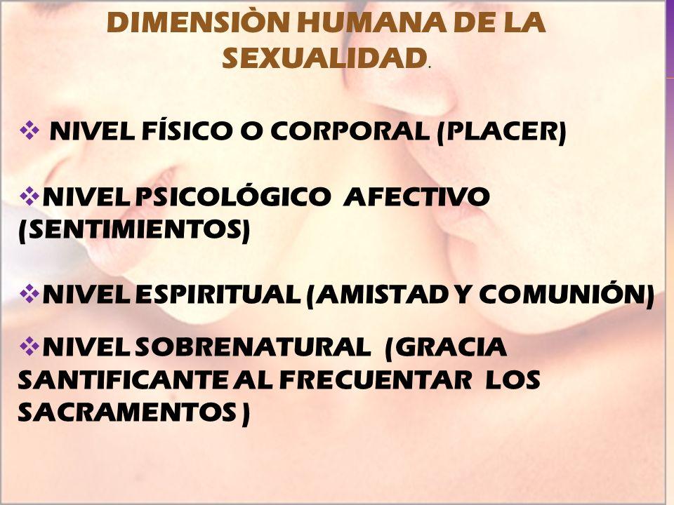 NIVEL FÍSICO O CORPORAL (PLACER) NIVEL PSICOLÓGICO AFECTIVO (SENTIMIENTOS) NIVEL ESPIRITUAL (AMISTAD Y COMUNIÓN) NIVEL SOBRENATURAL (GRACIA SANTIFICAN