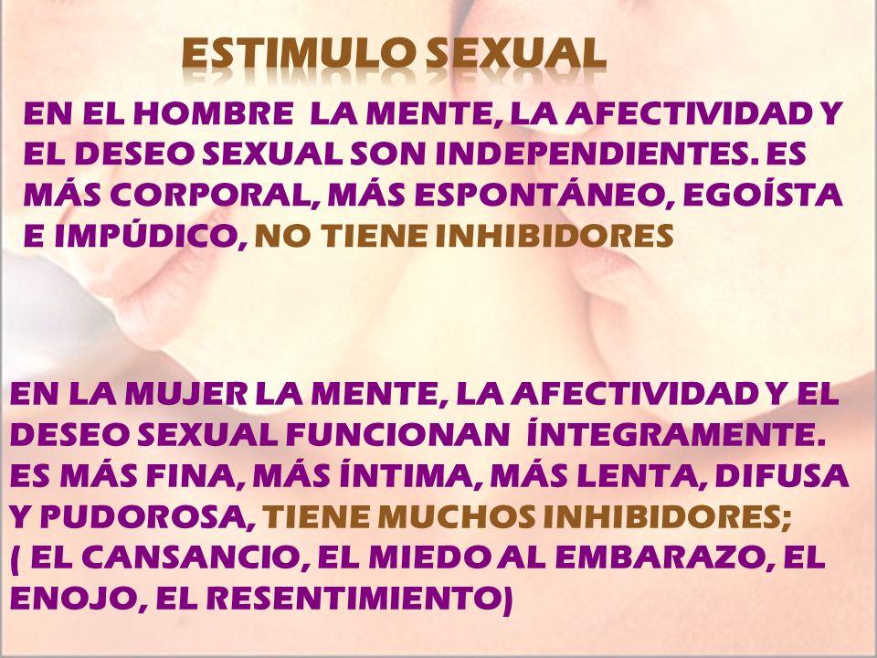 EN EL HOMBRE LA MENTE, LA AFECTIVIDAD Y EL DESEO SEXUAL SON INDEPENDIENTES. ES MÁS CORPORAL, MÁS ESPONTÁNEO, EGOÍSTA E IMPÚDICO, NO TIENE INHIBIDORES
