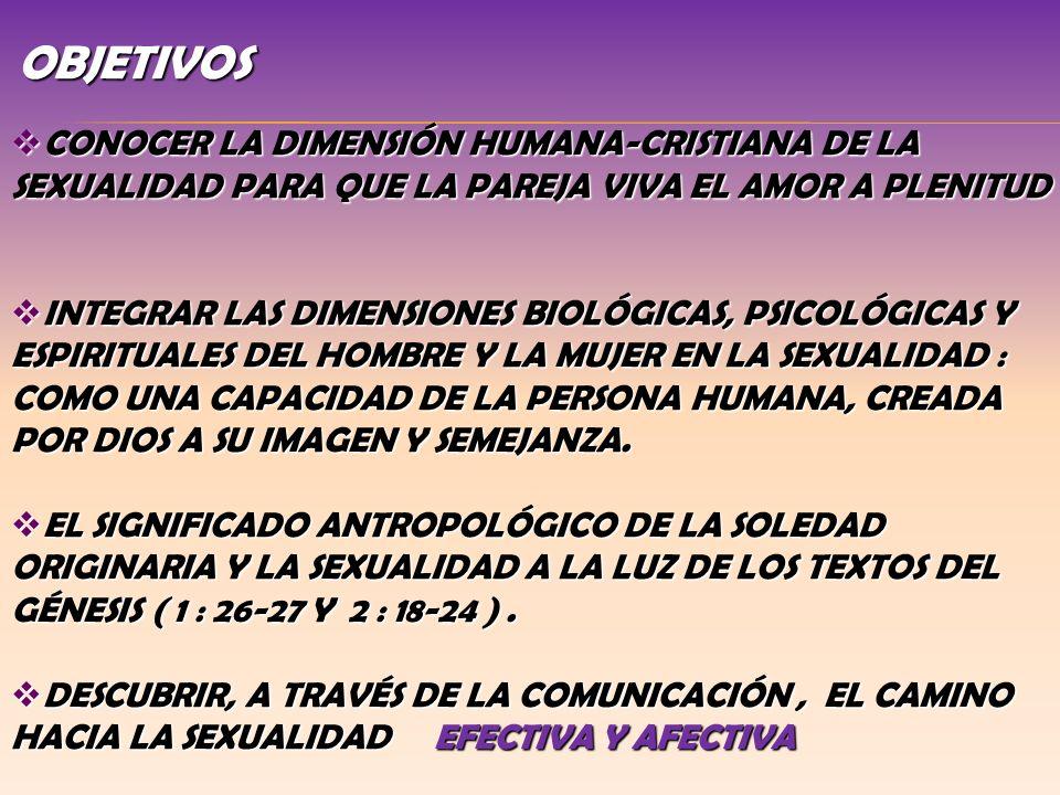 OBJETIVOS CONOCER LA DIMENSIÓN HUMANA-CRISTIANA DE LA SEXUALIDAD PARA QUE LA PAREJA VIVA EL AMOR A PLENITUD CONOCER LA DIMENSIÓN HUMANA-CRISTIANA DE L