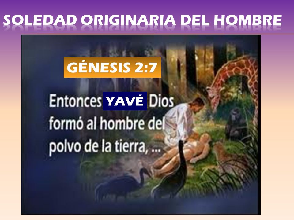 LA SOLEDAD ORIGINARIA DEL HOMBRE GÉNESIS 2, 18-24