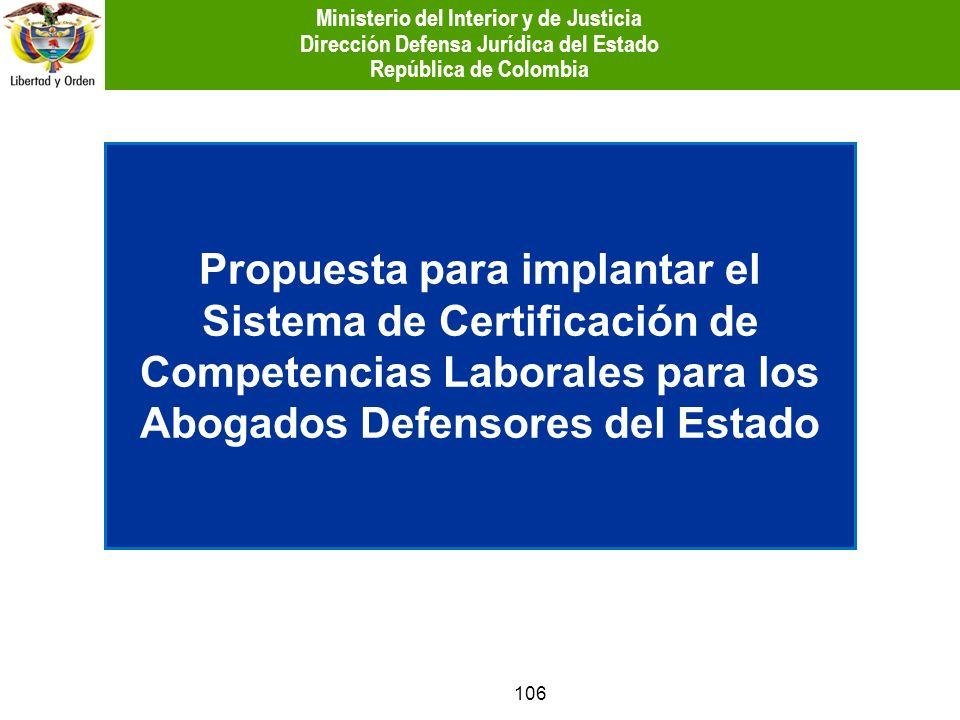 106 Propuesta para implantar el Sistema de Certificación de Competencias Laborales para los Abogados Defensores del Estado Ministerio del Interior y d