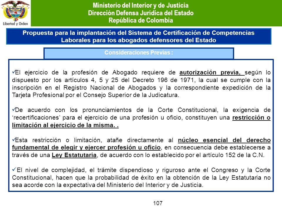 107 Propuesta para la implantación del Sistema de Certificación de Competencias Laborales para los abogados defensores del Estado Consideraciones Prev