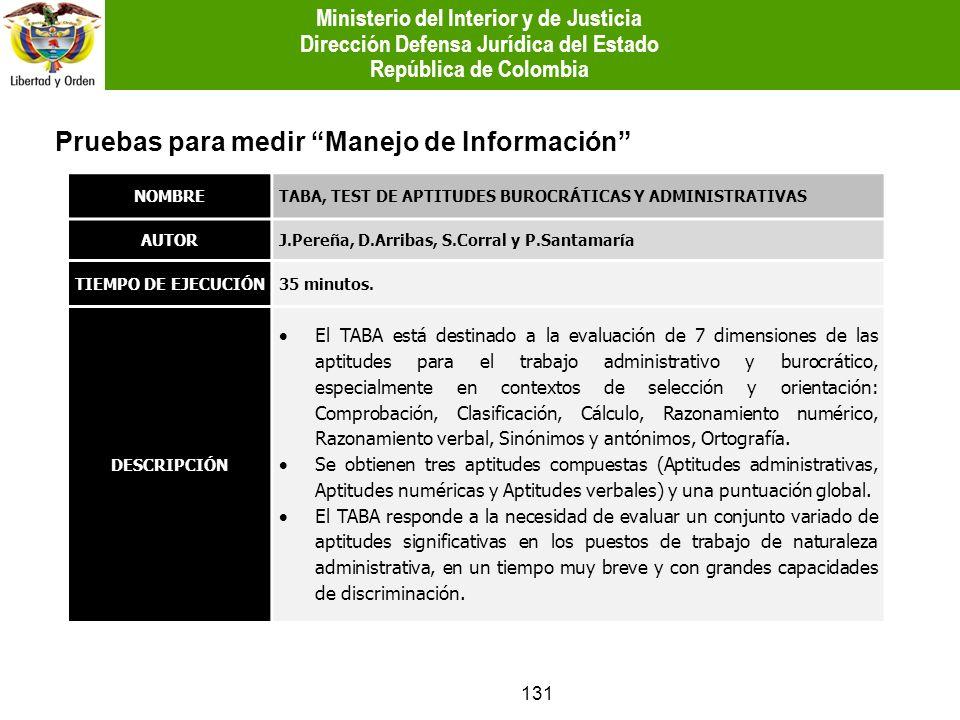 131 Pruebas para medir Manejo de Información NOMBRETABA, TEST DE APTITUDES BUROCRÁTICAS Y ADMINISTRATIVAS AUTORJ.Pereña, D.Arribas, S.Corral y P.Santa