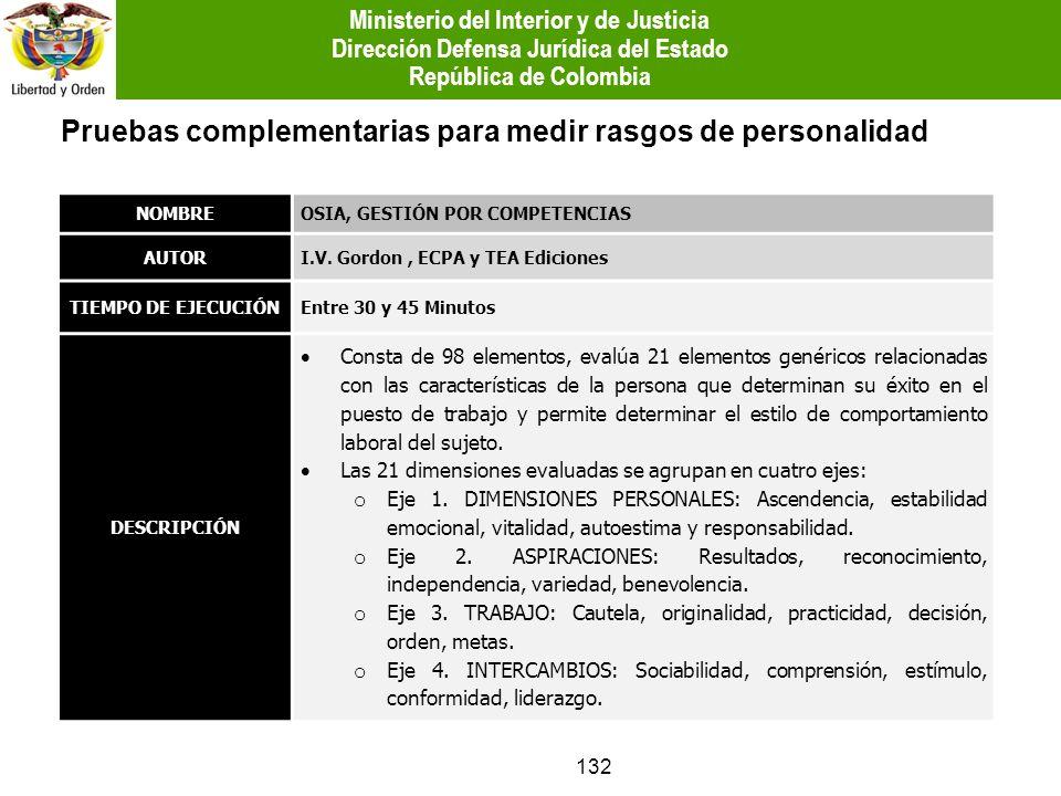132 Pruebas complementarias para medir rasgos de personalidad NOMBREOSIA, GESTIÓN POR COMPETENCIAS AUTORI.V. Gordon, ECPA y TEA Ediciones TIEMPO DE EJ
