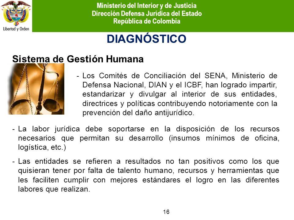 Sistema de Gestión Humana DIAGNÓSTICO -Los Comités de Conciliación del SENA, Ministerio de Defensa Nacional, DIAN y el ICBF, han logrado impartir, est