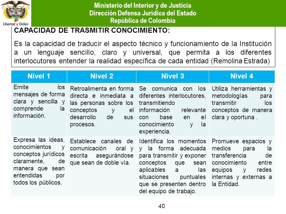 CAPACIDAD DE TRASMITIR CONOCIMIENTO: Es la capacidad de traducir el aspecto técnico y funcionamiento de la Institución a un lenguaje sencillo, claro y