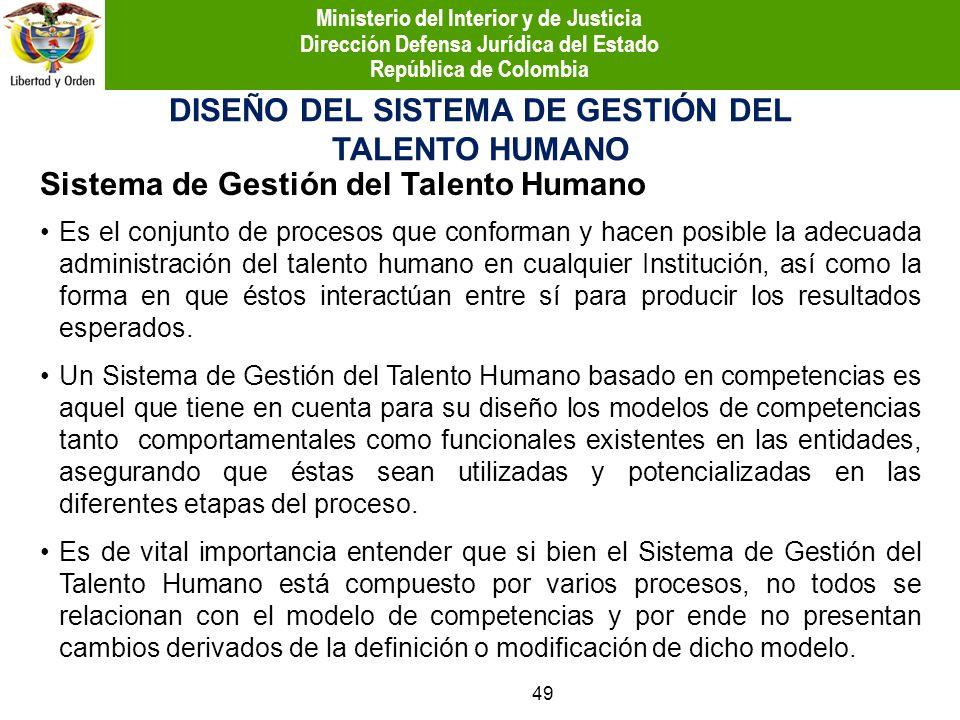 DISEÑO DEL SISTEMA DE GESTIÓN DEL TALENTO HUMANO Es el conjunto de procesos que conforman y hacen posible la adecuada administración del talento human