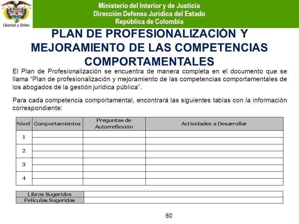 PLAN DE PROFESIONALIZACIÓN Y MEJORAMIENTO DE LAS COMPETENCIAS COMPORTAMENTALES El Plan de Profesionalización se encuentra de manera completa en el doc