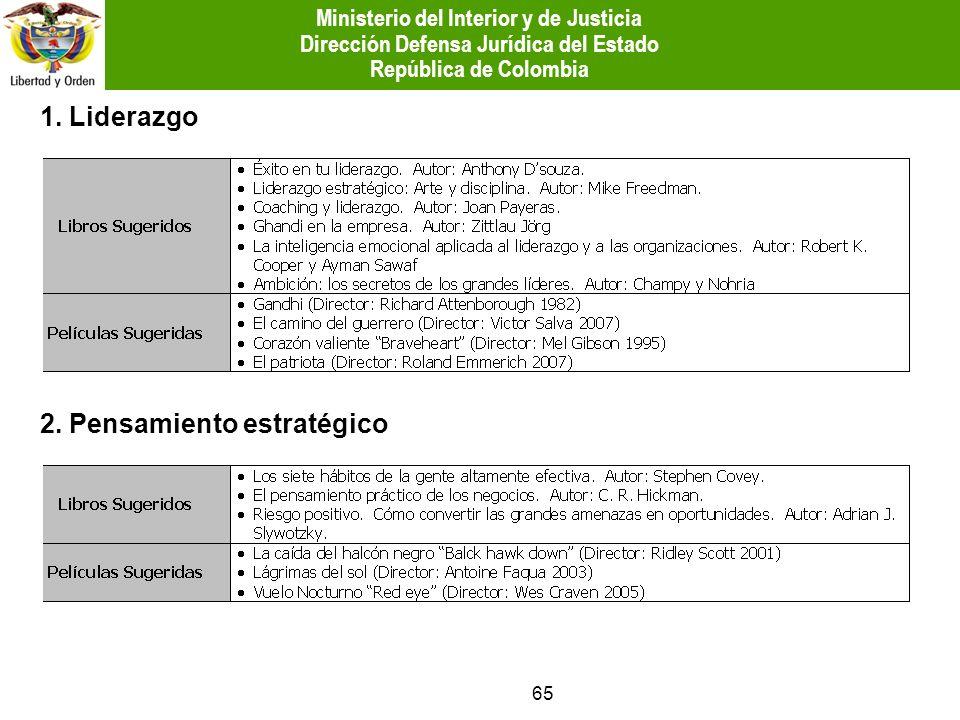 65 1. Liderazgo 2. Pensamiento estratégico Ministerio del Interior y de Justicia Dirección Defensa Jurídica del Estado República de Colombia