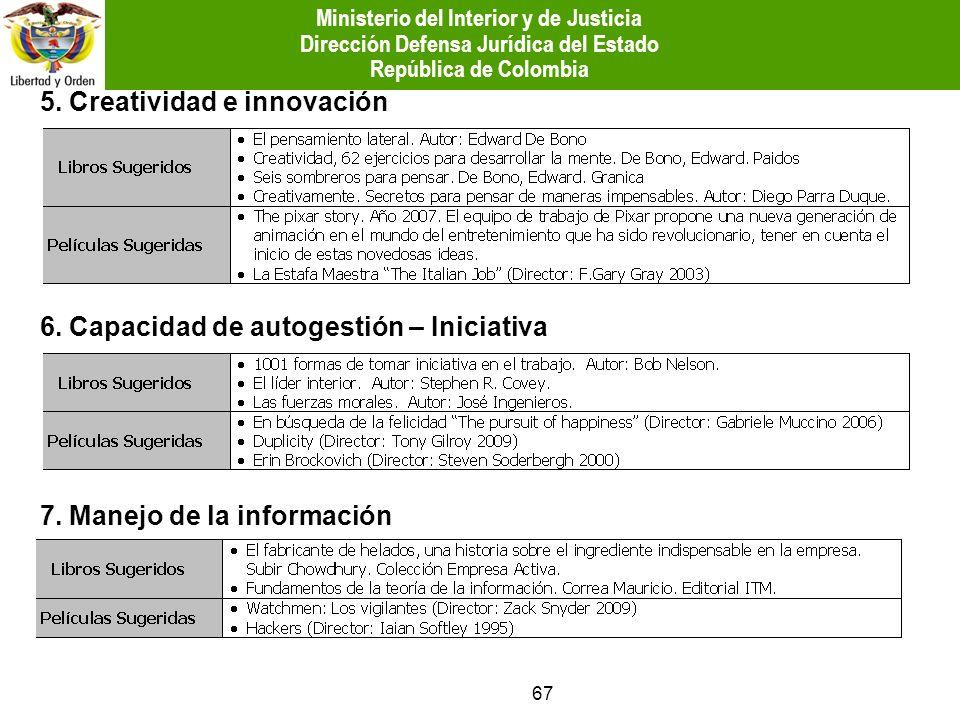 67 5. Creatividad e innovación 6. Capacidad de autogestión – Iniciativa 7. Manejo de la información Ministerio del Interior y de Justicia Dirección De