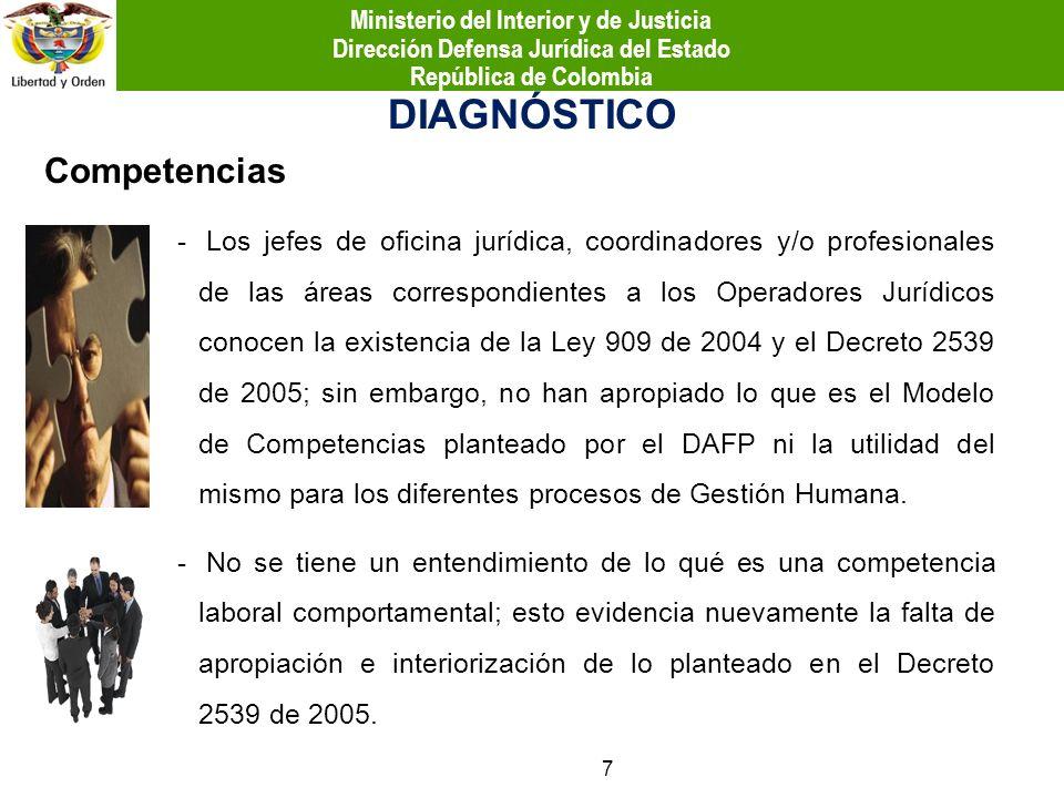 Competencias DIAGNÓSTICO - Los jefes de oficina jurídica, coordinadores y/o profesionales de las áreas correspondientes a los Operadores Jurídicos con