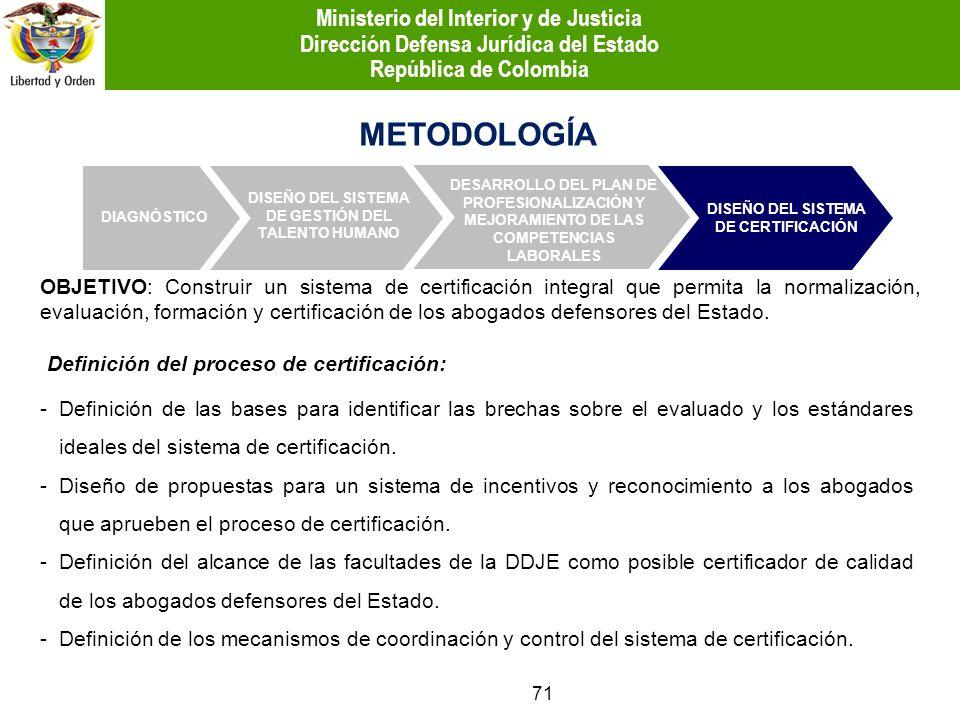 OBJETIVO: Construir un sistema de certificación integral que permita la normalización, evaluación, formación y certificación de los abogados defensore