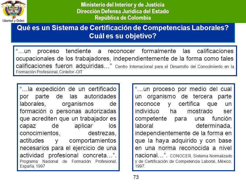 Qué es un Sistema de Certificación de Competencias Laborales? Cuál es su objetivo? 73 …un proceso tendiente a reconocer formalmente las calificaciones