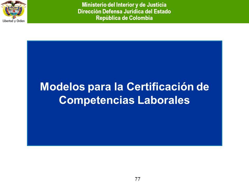 77 Modelos para la Certificación de Competencias Laborales Ministerio del Interior y de Justicia Dirección Defensa Jurídica del Estado República de Co