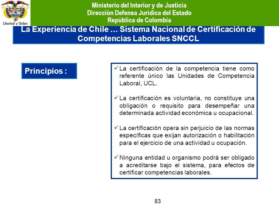 83 La Experiencia de Chile … Sistema Nacional de Certificación de Competencias Laborales SNCCL Principios : La certificación de la competencia tiene c