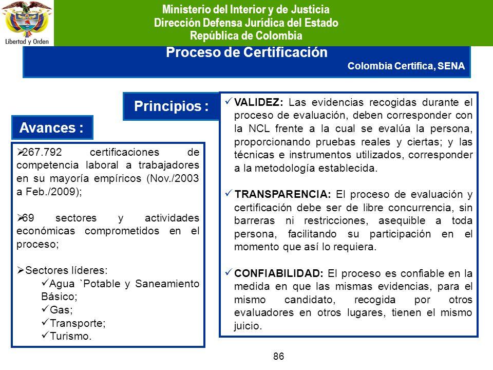 86 Principios : VALIDEZ: Las evidencias recogidas durante el proceso de evaluación, deben corresponder con la NCL frente a la cual se evalúa la person