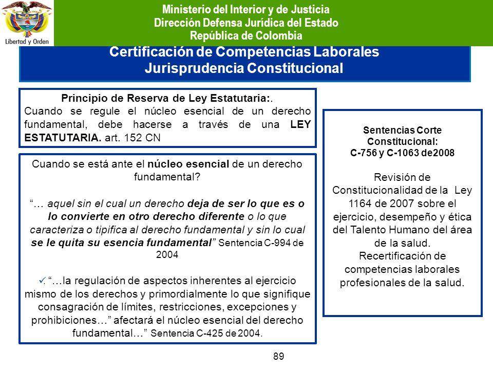89 Certificación de Competencias Laborales Jurisprudencia Constitucional Principio de Reserva de Ley Estatutaria:. Cuando se regule el núcleo esencial