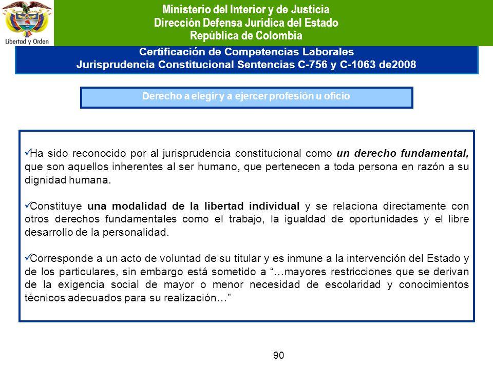 90 Certificación de Competencias Laborales Jurisprudencia Constitucional Sentencias C-756 y C-1063 de2008 Derecho a elegir y a ejercer profesión u ofi