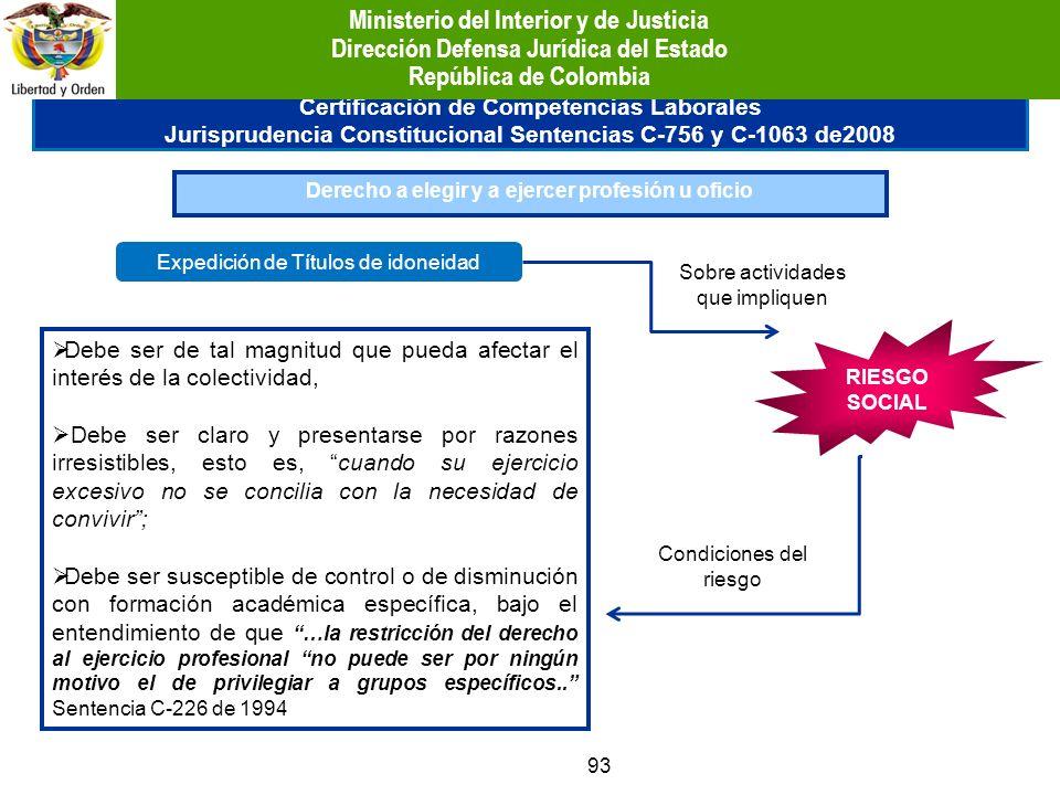 93 Certificación de Competencias Laborales Jurisprudencia Constitucional Sentencias C-756 y C-1063 de2008 Derecho a elegir y a ejercer profesión u ofi