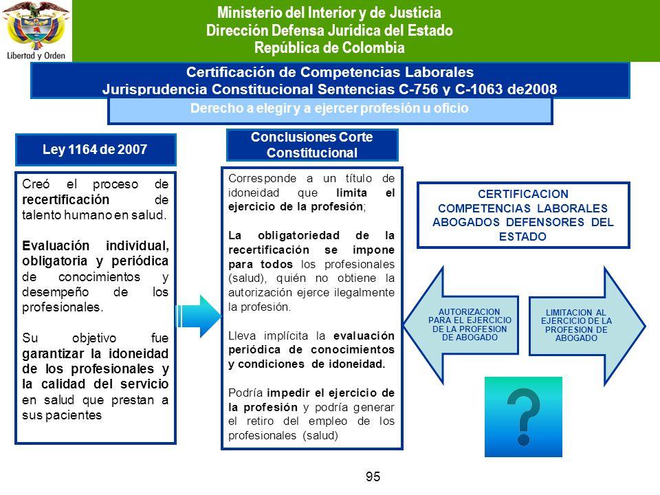 95 Certificación de Competencias Laborales Jurisprudencia Constitucional Sentencias C-756 y C-1063 de2008 Derecho a elegir y a ejercer profesión u ofi