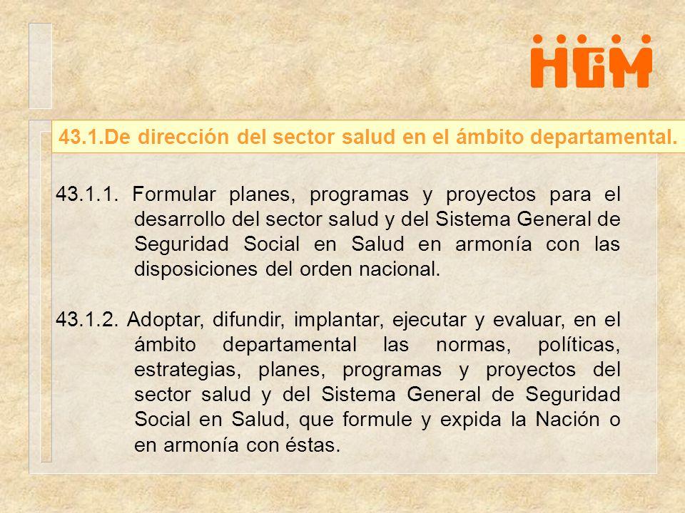 43.1.1. Formular planes, programas y proyectos para el desarrollo del sector salud y del Sistema General de Seguridad Social en Salud en armonía con l