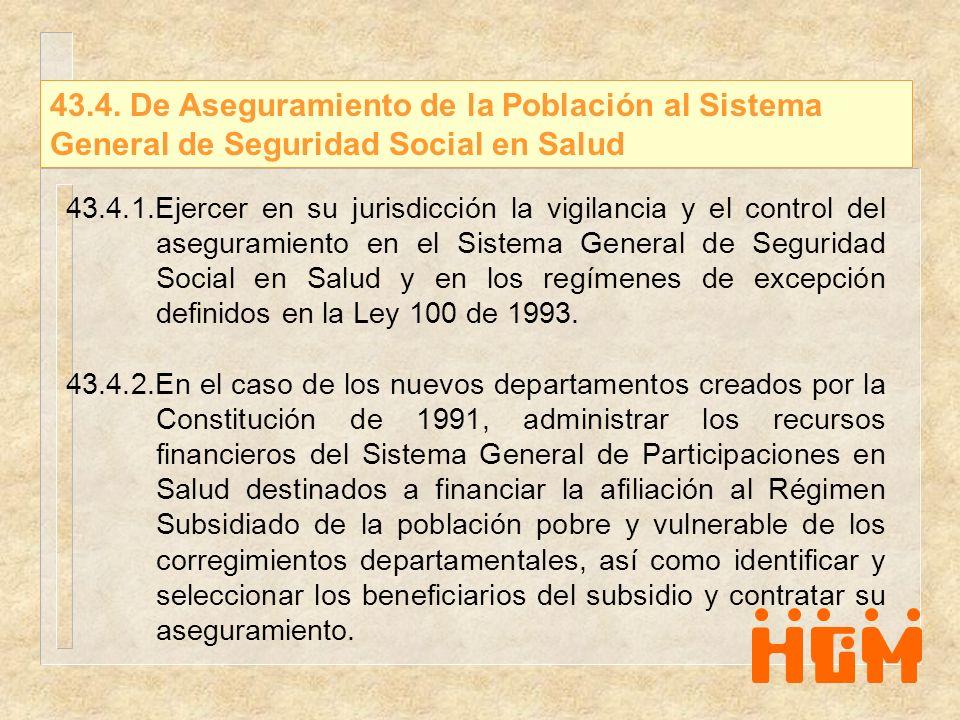 43.4. De Aseguramiento de la Población al Sistema General de Seguridad Social en Salud 43.4.1.Ejercer en su jurisdicción la vigilancia y el control de