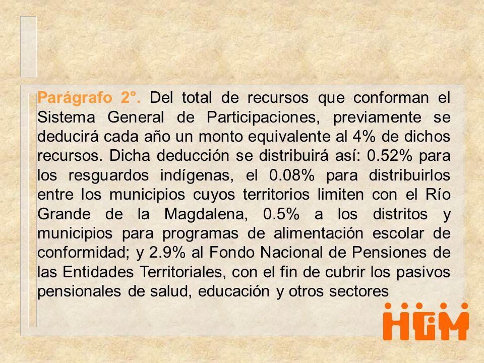 Parágrafo 2°. Del total de recursos que conforman el Sistema General de Participaciones, previamente se deducirá cada año un monto equivalente al 4% d