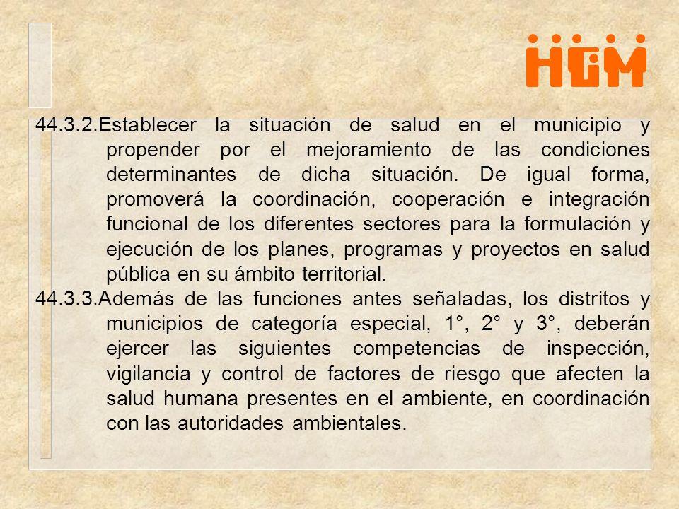 44.3.2.Establecer la situación de salud en el municipio y propender por el mejoramiento de las condiciones determinantes de dicha situación. De igual