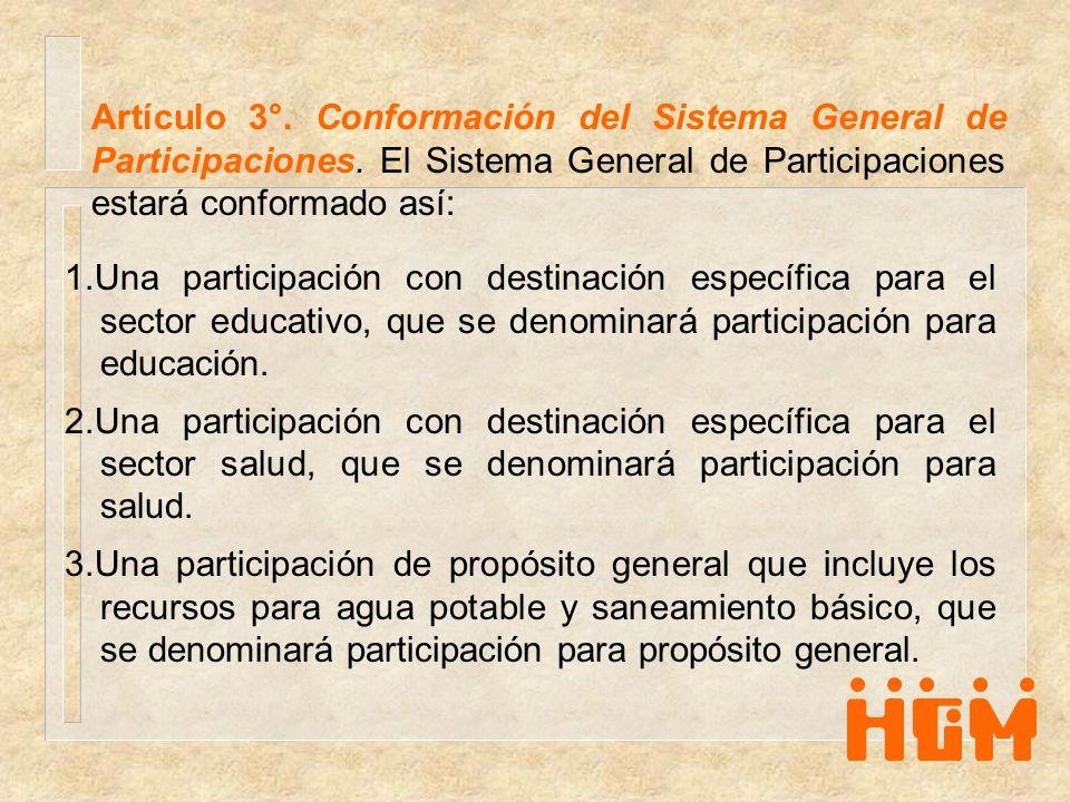 Artículo 3°. Conformación del Sistema General de Participaciones. El Sistema General de Participaciones estará conformado así: 1.Una participación con