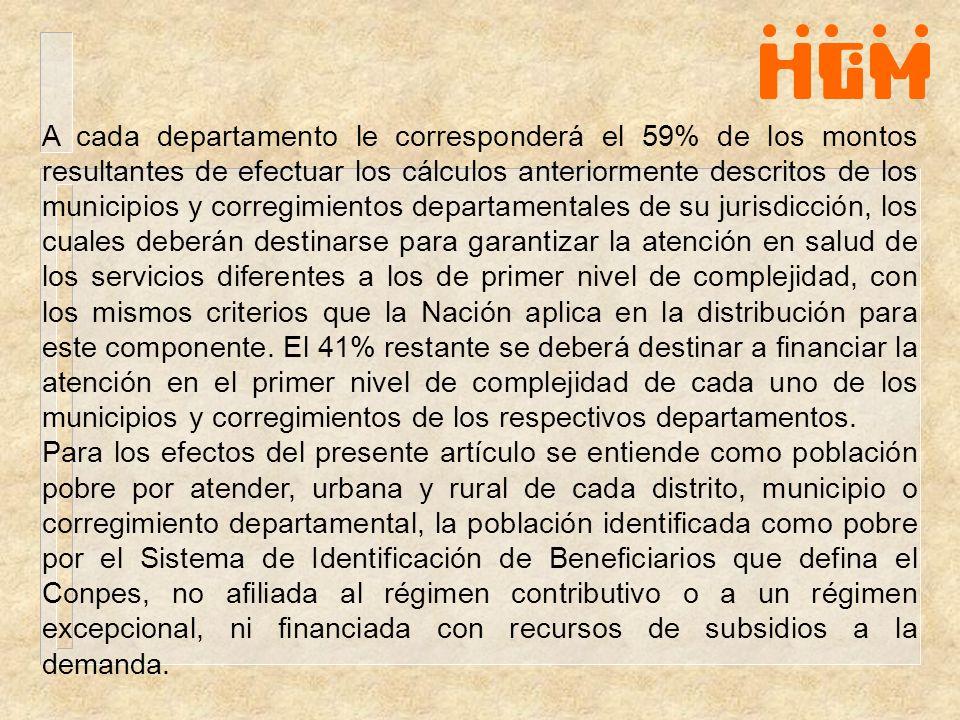 A cada departamento le corresponderá el 59% de los montos resultantes de efectuar los cálculos anteriormente descritos de los municipios y corregimien