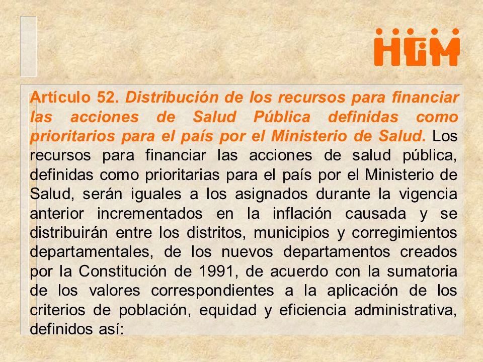 Artículo 52. Distribución de los recursos para financiar las acciones de Salud Pública definidas como prioritarios para el país por el Ministerio de S