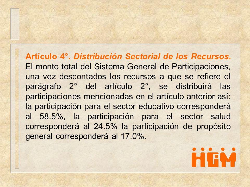 Artículo 4°. Distribución Sectorial de los Recursos. El monto total del Sistema General de Participaciones, una vez descontados los recursos a que se