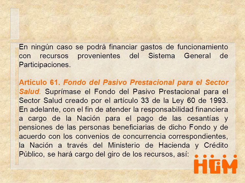 En ningún caso se podrá financiar gastos de funcionamiento con recursos provenientes del Sistema General de Participaciones. Artículo 61. Fondo del Pa