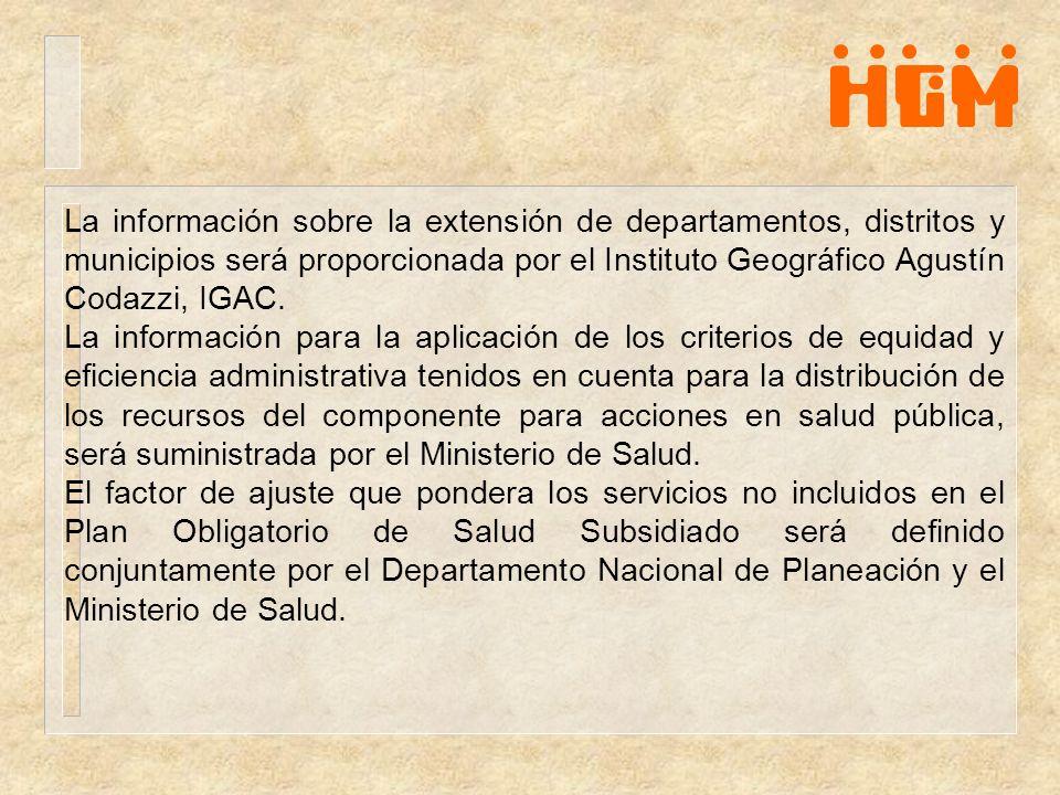 La información sobre la extensión de departamentos, distritos y municipios será proporcionada por el Instituto Geográfico Agustín Codazzi, IGAC. La in