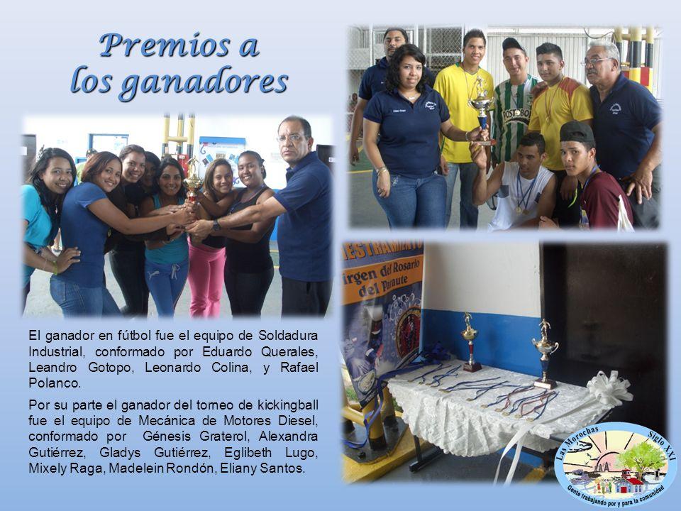 El ganador en fútbol fue el equipo de Soldadura Industrial, conformado por Eduardo Querales, Leandro Gotopo, Leonardo Colina, y Rafael Polanco.