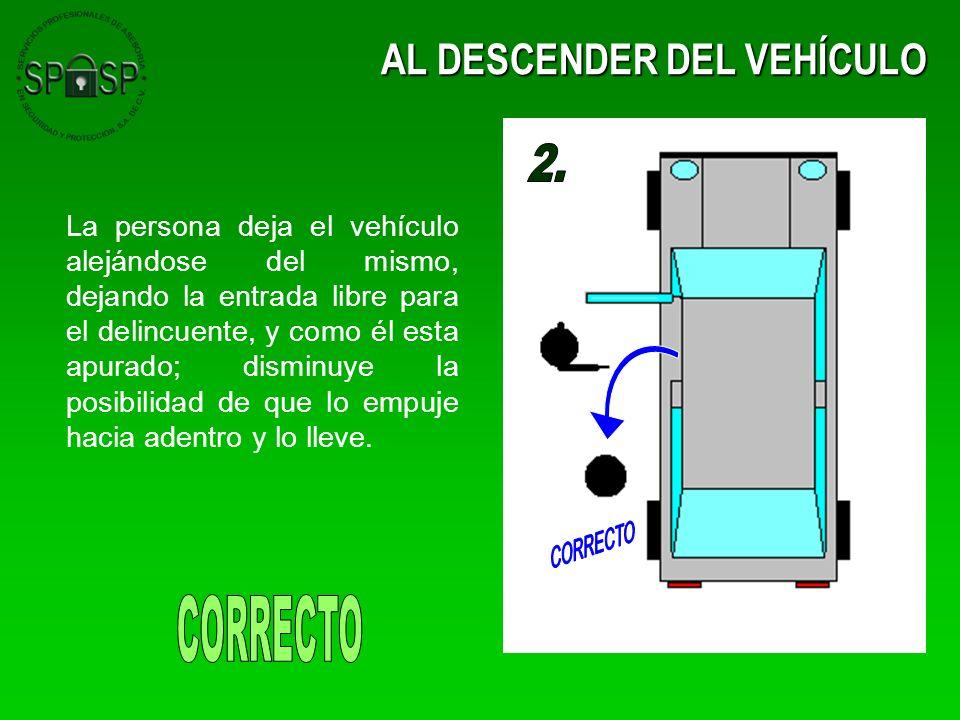 AL DESCENDER DEL VEHÍCULO La persona deja el vehículo alejándose del mismo, dejando la entrada libre para el delincuente, y como él esta apurado; dism