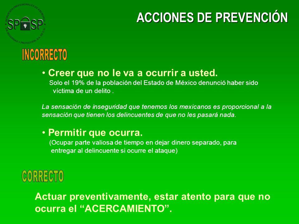 ACCIONES DE PREVENCIÓN Creer que no le va a ocurrir a usted. Solo el 19% de la población del Estado de México denunció haber sido víctima de un delito