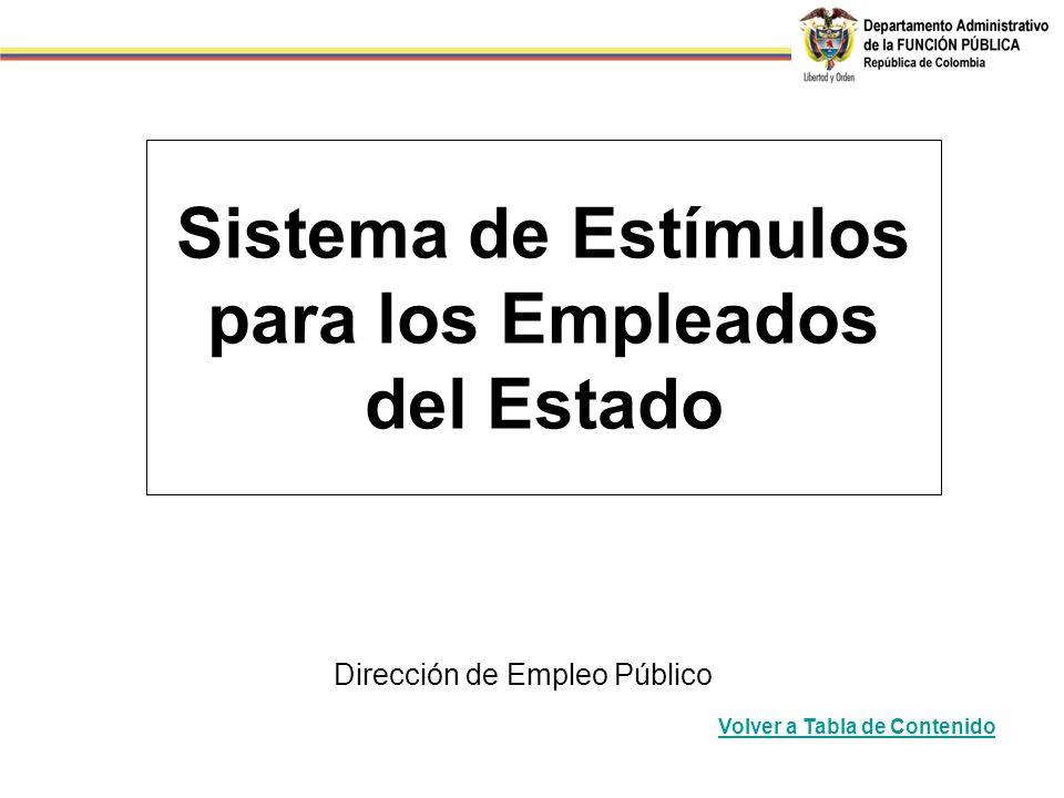 Sistema de Estímulos para los Empleados del Estado Dirección de Empleo Público Volver a Tabla de Contenido