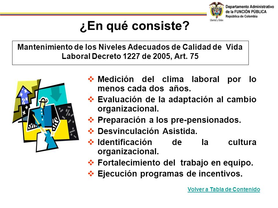 Mantenimiento de los Niveles Adecuados de Calidad de Vida Laboral Decreto 1227 de 2005, Art.