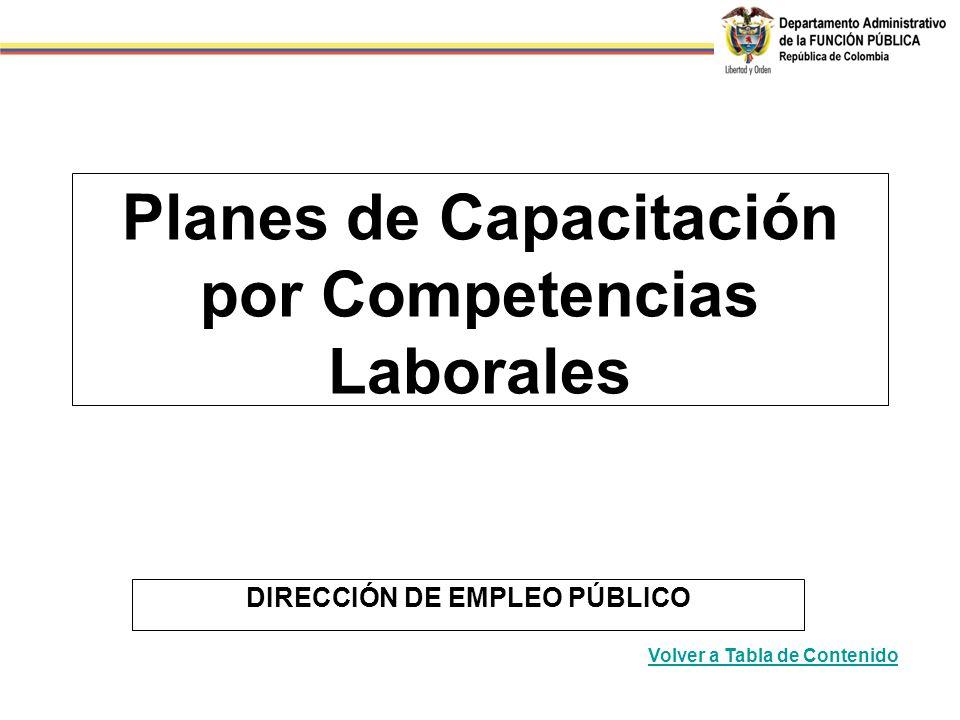 Planes de Capacitación por Competencias Laborales DIRECCIÓN DE EMPLEO PÚBLICO Volver a Tabla de Contenido