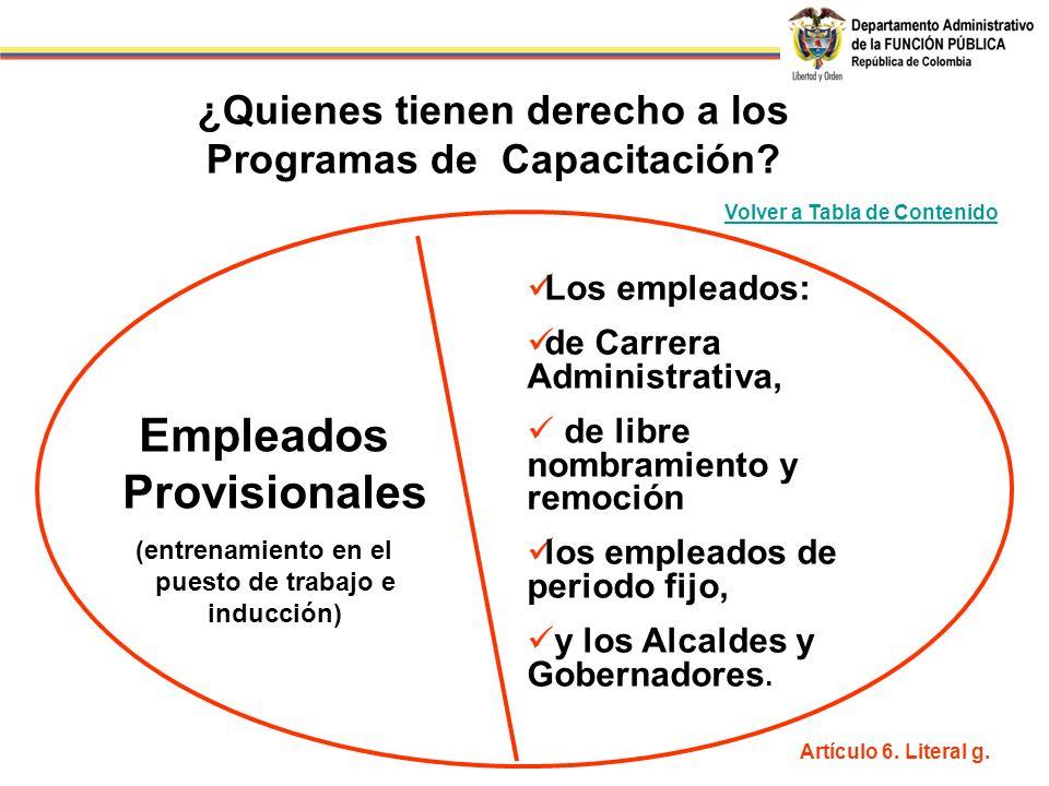 ¿Quienes tienen derecho a los Programas de Capacitación? Empleados Provisionales (entrenamiento en el puesto de trabajo e inducción) Los empleados: de