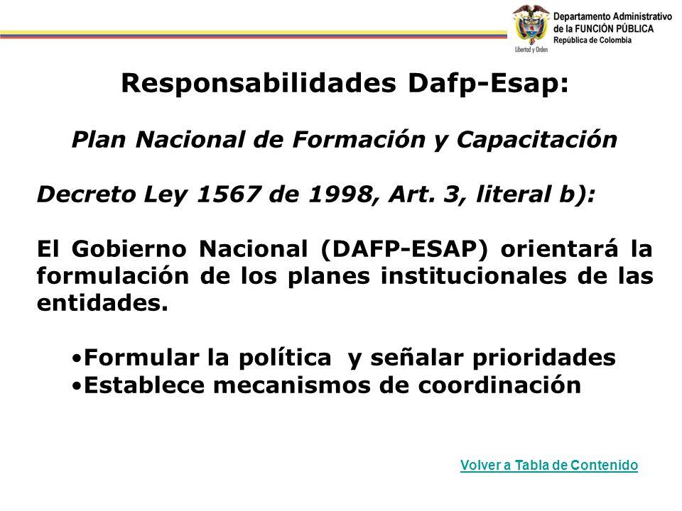 Responsabilidades Dafp-Esap: Plan Nacional de Formación y Capacitación Decreto Ley 1567 de 1998, Art. 3, literal b): El Gobierno Nacional (DAFP-ESAP)