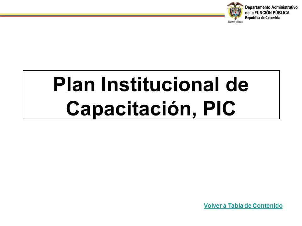 Plan Institucional de Capacitación, PIC Volver a Tabla de Contenido