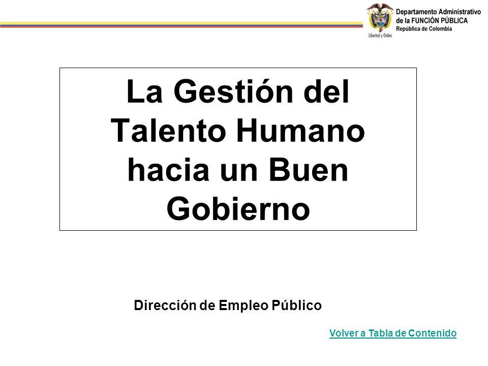 La Gestión del Talento Humano hacia un Buen Gobierno Dirección de Empleo Público Volver a Tabla de Contenido