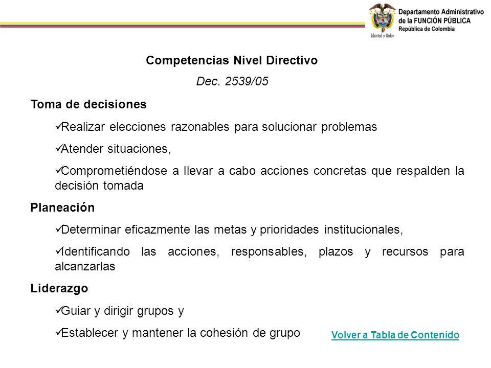 Competencias Nivel Directivo Dec. 2539/05 Toma de decisiones Realizar elecciones razonables para solucionar problemas Atender situaciones, Comprometié