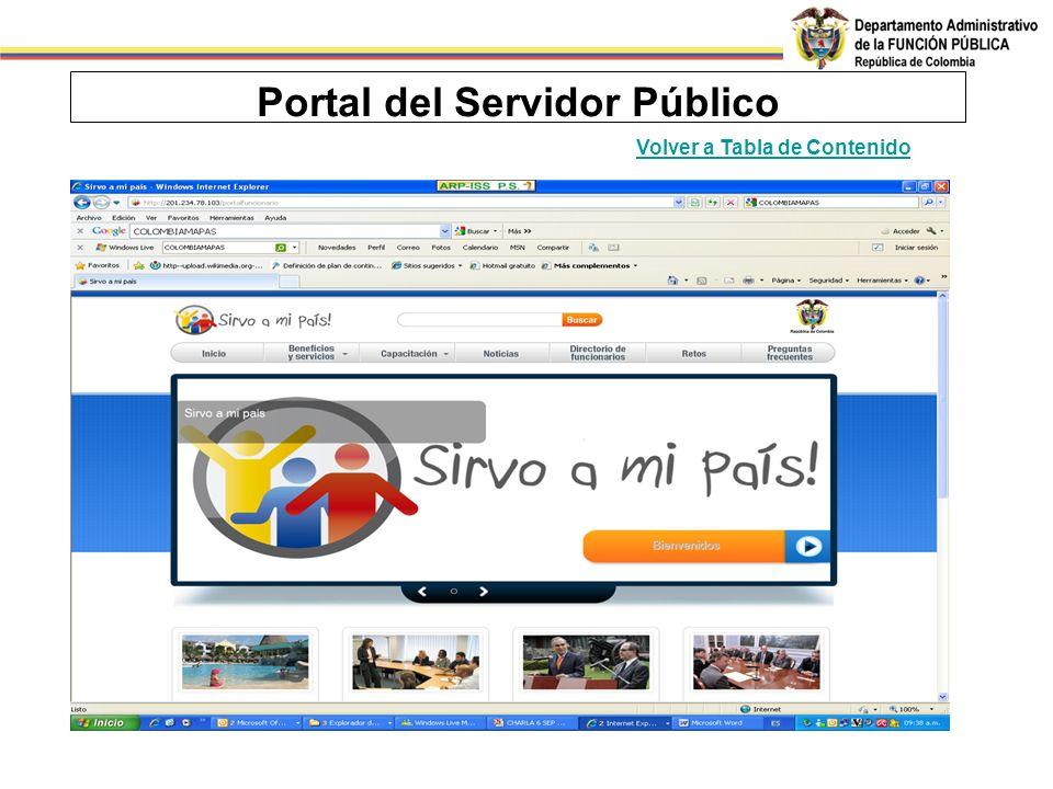 Portal del Servidor Público Volver a Tabla de Contenido