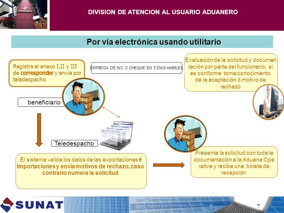 7 Por vía electrónica usando utilitario El sistema valida los datos de las exportaciones é Importaciones y envía motivos de rechazo, caso contrario nu