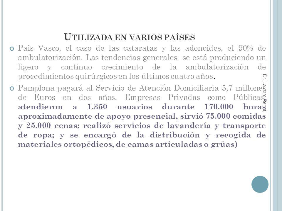 U TILIZADA EN VARIOS PAÍSES País Vasco, el caso de las cataratas y las adenoides, el 90% de ambulatorización.