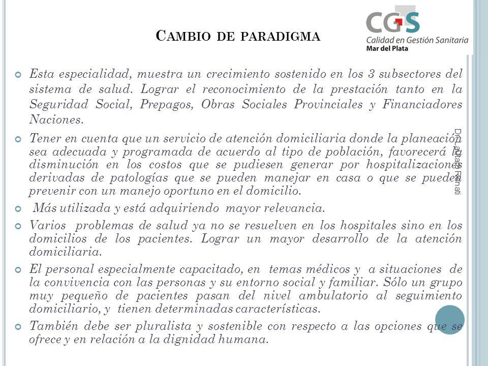 C AMBIO DE PARADIGMA Esta especialidad, muestra un crecimiento sostenido en los 3 subsectores del sistema de salud.