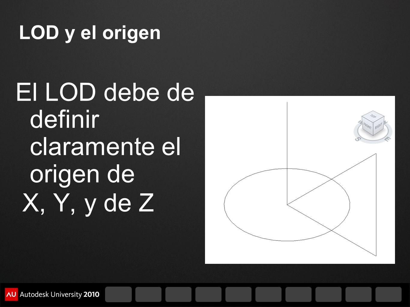 LOD y el origen El LOD debe de definir claramente el origen de X, Y, y de Z